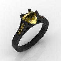 Gorgeous 14K Black Gold 1.0 Ct Heart Yellow Sapphire Modern Wedding Ring Engagement Ring for Women R663-14KBGYS-1