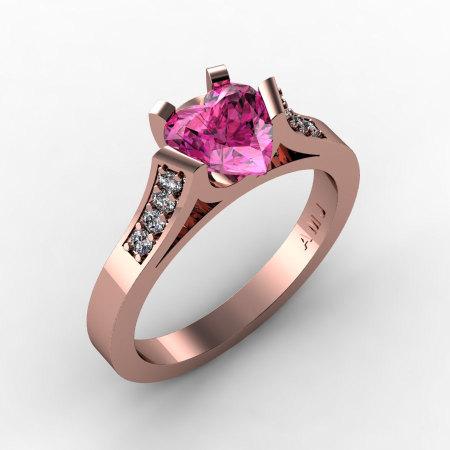 Gorgeous 14K Rose Gold 1.0 Ct Heart Pink Sapphire Diamond Modern Wedding Ring Engagement Ring for Women R663-14KRGDPS-1