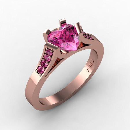 Gorgeous 14K Rose Gold 1.0 Ct Heart Pink Sapphire Modern Wedding Ring Engagement Ring for Women R663-14KRGPS-1