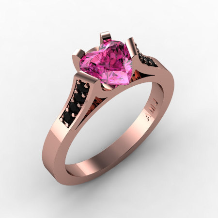 Gorgeous 14K Rose Gold 1.0 Ct Heart Pink Sapphire Black Diamond Modern Wedding Ring Engagement Ring for Women R663-14KRGBDPS-1