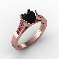 Gorgeous 14K Rose Gold 1.0 Ct Heart Black Diamond Pink Sapphire Modern Wedding Ring Engagement Ring for Women R663-14KRGPSBD-1