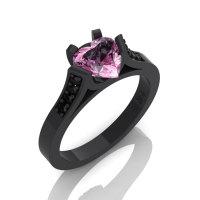 Gorgeous 14K Black Gold 1.0 Ct Heart Light Pink Sapphire Black Diamond Modern Wedding Ring Engagement Ring for Women R663-14KBGBDLPS-1