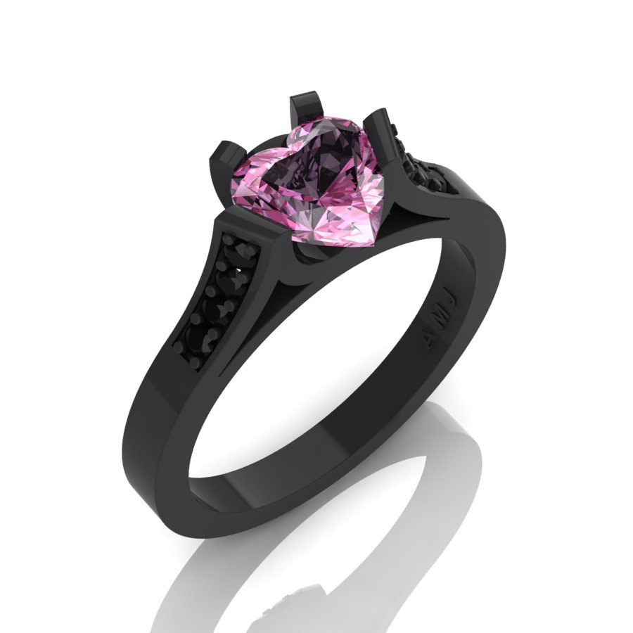 Gorgeous 14K Black Gold 1 0 Ct Heart Light Pink Sapphire Black Diamond Modern