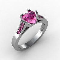 Gorgeous 14K White Gold 1.0 Ct Heart Pink Sapphire Modern Wedding Ring Engagement Ring for Women R663-14KWGPS-1