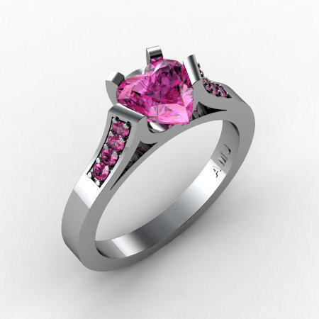 Gorgeous 14K White Gold 1.0 Ct Heart Pink Sapphire Modern Wedding Ring Engagement Ring for Women R663-14KWGPS-1
