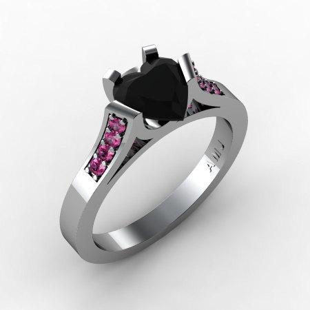 Gorgeous 14K White Gold 1.0 Ct Heart Black Diamond Pink Sapphire Modern Wedding Ring Engagement Ring for Women R663-14KWGPSBD-1