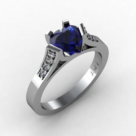 Gorgeous 14K White Gold 1.0 Ct Heart Blue Sapphire Diamond Modern Wedding Ring Engagement Ring for Women R663-14KWGDBS-1