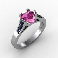 Gorgeous 14K White Gold 1.0 Ct Heart Pink and Blue Sapphire Modern Wedding Ring Engagement Ring for Women R663-14KWGBSPS-1