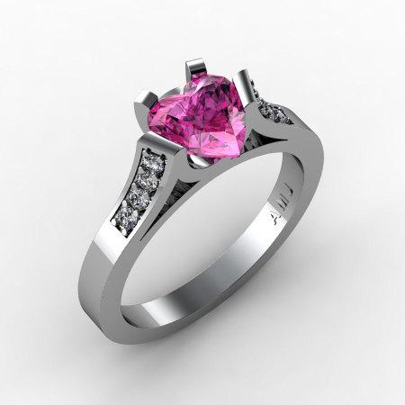 Gorgeous 14K White Gold 1.0 Ct Heart Pink Sapphire Diamond Modern Wedding Ring Engagement Ring for Women R663-14KWGDPS-1