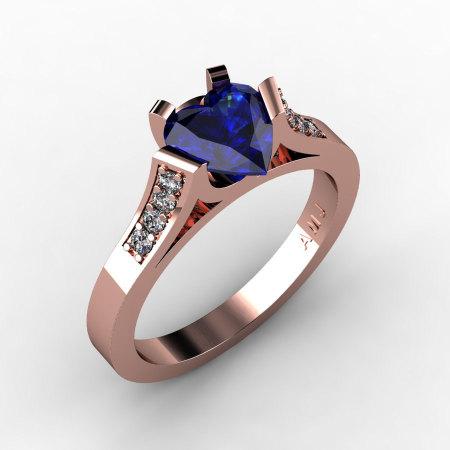 Gorgeous 14K Rose Gold 1.0 Ct Heart Blue Sapphire Diamond Modern Wedding Ring Engagement Ring for Women R663-14KRGDBS-1