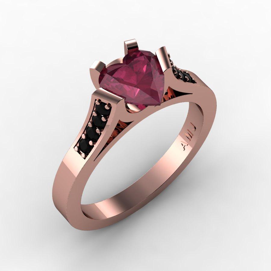 Gorgeous 14K Rose Gold 1 0 Ct Heart Bordo Red Ruby Black Diamond Modern Weddi