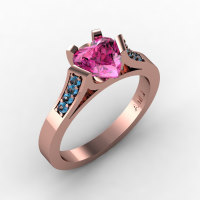 Gorgeous 14K Rose Gold 1.0 Ct Heart Pink Sapphire Blue Topaz Modern Wedding Ring Engagement Ring for Women R663-14KRGBTPS-1