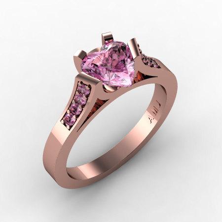 Gorgeous 14K Rose Gold 1.0 Ct Heart Light Pink Sapphire Modern Wedding Ring Engagement Ring for Women R663-14KRGLPS-1