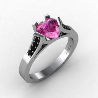 Gorgeous 14K White Gold 1.0 Ct Heart Pink Sapphire Black Diamond Modern Wedding Ring Engagement Ring for Women R663-14KWGBDPS-1