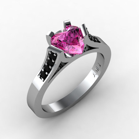 Gorgeous 14K White Gold 1.0 Ct Heart Pink Sapphire Black Diamond Modern Wedding Ring Engagement Ring for Women R663-14KWGBDPS-1