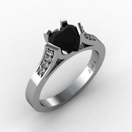 Gorgeous 14K White Gold 1.0 Ct Heart Black and White Diamond Modern Wedding Ring Engagement Ring for Women R663-14KWGDBD-1