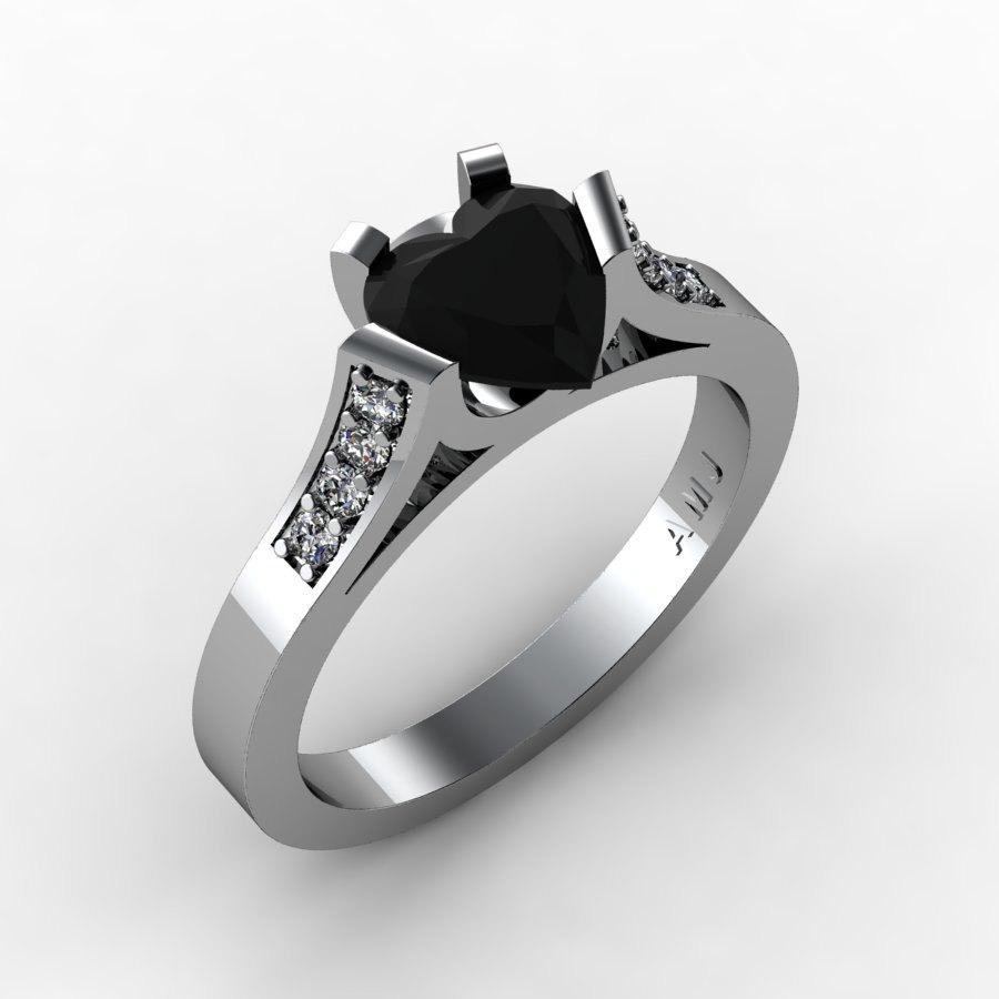 Gorgeous 14K White Gold 1 0 Ct Heart Black and White Diamond Modern Wedding R
