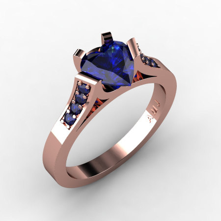 Gorgeous 14K Rose Gold 1.0 Ct Heart Blue Sapphire Modern Wedding Ring Engagement Ring for Women R663-14KRGBS-1