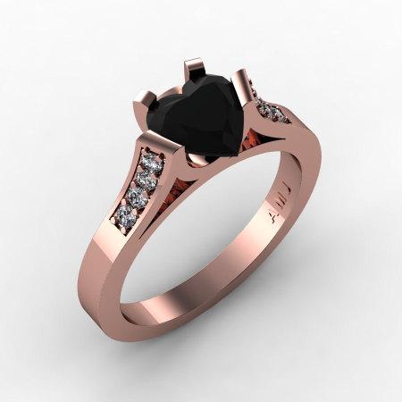 Gorgeous 14K Rose Gold 1.0 Ct Heart Black and White Diamond Modern Wedding Ring Engagement Ring for Women R663-14KRGDBD-1