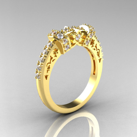 Modern Armenian Classic 14K Yellow Gold Diamond Wedding Band R137B-14KYGD-1