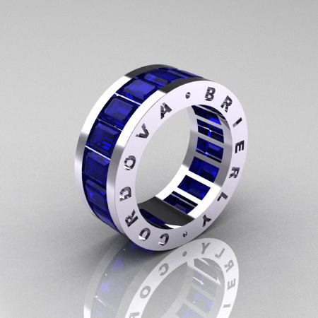 Mens Modern 14K White Gold Blue Sapphire Channel Cluster Infinity Wedding Band R174M-14WGBS-1