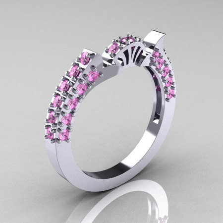 French 14K White Gold French Vintage 3.0 Ct Light Pink Sapphire Wedding Band R401B-14KWGBSLPS-1