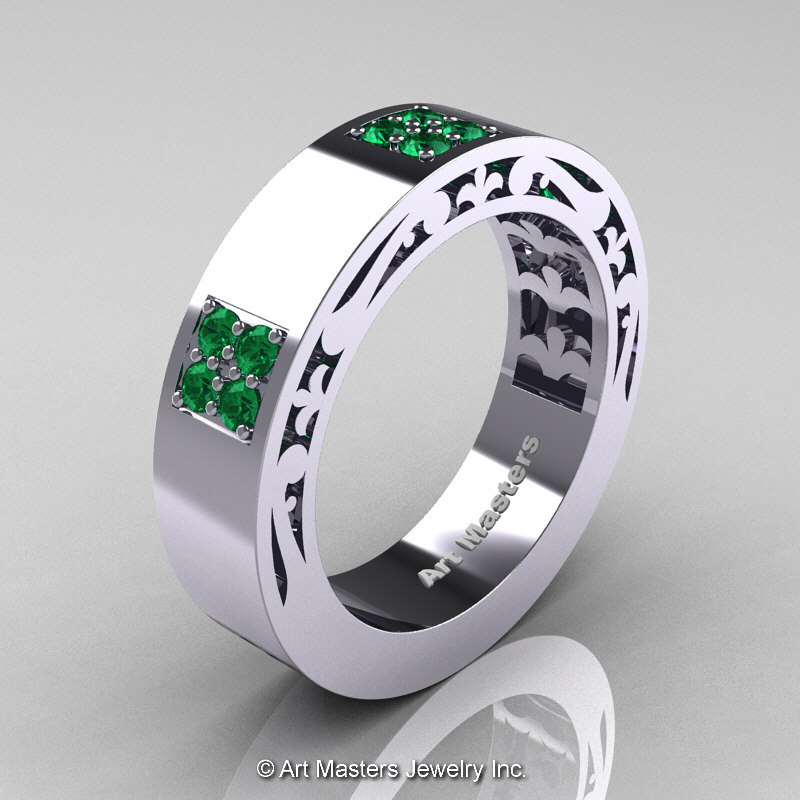 Emerald Wedding Band.Mens Modern Vintage 14k White Gold Emerald Wedding Band R474m 14kwgem