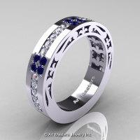 Womens Modern Vintage 14K White Gold Diamond Blue Sapphire Wedding Band R474F-14KWGBSD-1