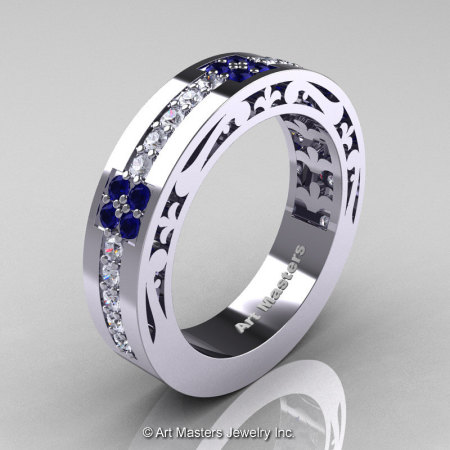 Womens Modern Vintage 14K White Gold Diamond Blue Sapphire Wedding Band R474F-14KWGBSD-1