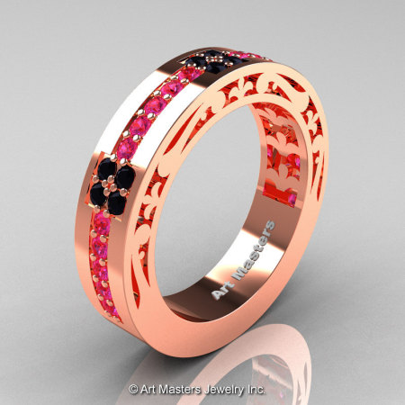 Womens Modern Vintage 14K Rose Gold Pink Sapphire Black Diamond Wedding Band R474F-14KRGBDPS-1