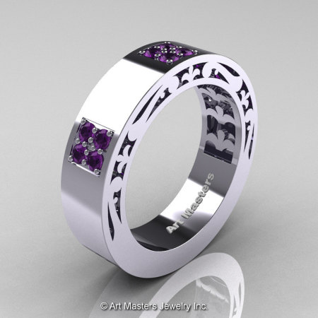 Mens Modern Vintage 14K White Gold Amethyst Wedding Band R474M-14KWGAM-1