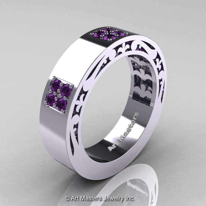 Mens Modern Vintage 14k White Gold Amethyst Wedding Band R474m 14kwgam 1