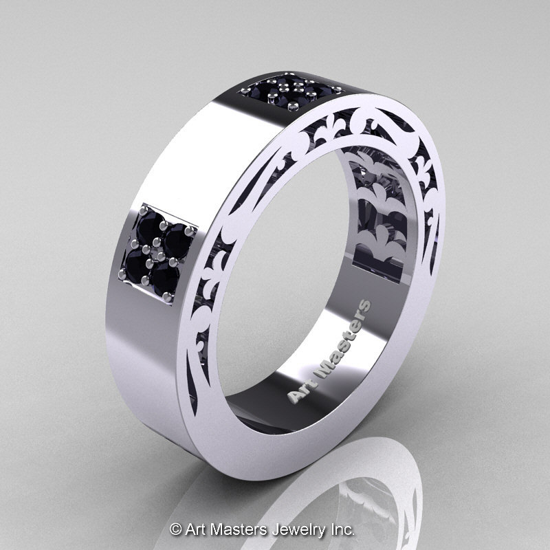 Mens Modern Vintage 14K White Gold Black Onyx Wedding Band R474M 14KWGBO Ar