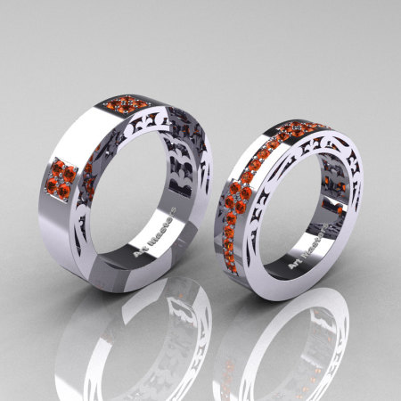 Modern Vintage 14K White Gold Orange Sapphire Wedding Band Set R474MF-14KWGOS-1