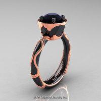 Art Masters Venetian 14K Black Rose Gold 1.0 Ct Black Diamond Engagement Ring R475-14KBRGBD-1