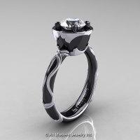 Art Masters Venetian 14K Black White Gold 1.0 Ct White Sapphire Engagement Ring R475-14KBWGWS-1