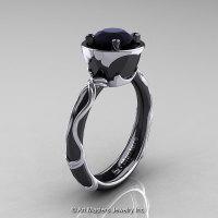 Art Masters Venetian 14K Black White Gold 1.0 Ct Black Diamond Engagement Ring R475-14KBWGBD-1