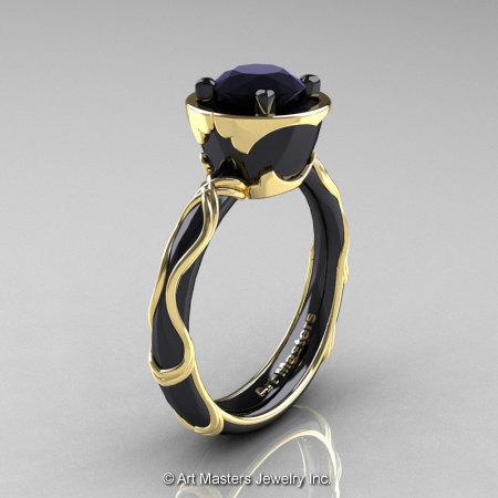 Art Masters Venetian 14K Black Yellow Gold 1.0 Ct Black Diamond Engagement Ring R475-14KBYGBD-1
