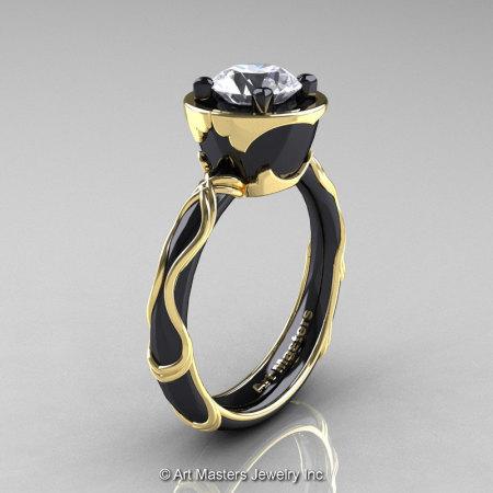 Art Masters Venetian 14K Black Yellow Gold 1.0 Ct White Sapphire Engagement Ring R475-14KBYGWS-1