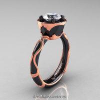Art Masters Venetian 14K Black Rose Gold 1.0 Ct White Sapphire Engagement Ring R475-14KBRGWS-1