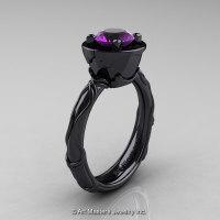 Art Masters Venetian 14K Black Gold 1.0 Ct Amethyst Engagement Ring R475-14KBGAM-1