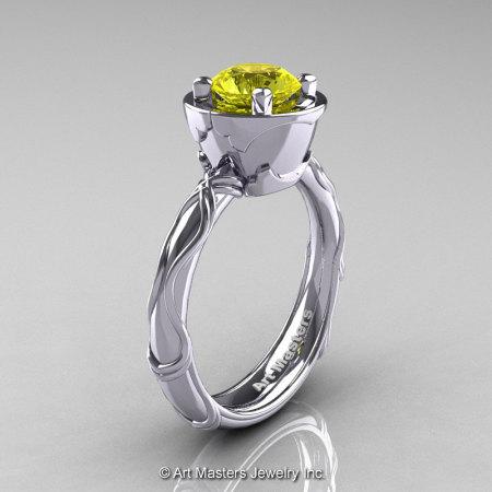 Art Masters Venetian 14K White Gold 1.0 Ct Yellow Sapphire Engagement Ring R475-14KWGYS-1