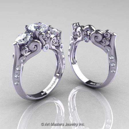 Art Masters Athena 14K White Gold Three Stone CZ Diamond Modern Antique Wedding Ring Set R515S-14KWGDCZ-1