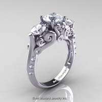 Art Masters Athena 14K White Gold Three Stone CZ Diamond Modern Antique Engagement Ring R515-14KWGDCZ-1