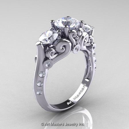 Art Masters Athena 14K White Gold Three Stone CZ Diamond Modern Antique Engagement Ring R515-14KWGDCZ-1
