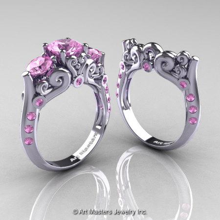 Art Masters 10K White Gold Three Stone Light Pink Sapphire Modern Antique Wedding Ring Set R515S-14KWGLPS-1