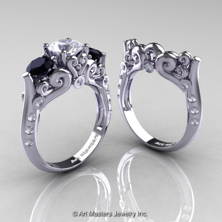 Art Masters Athena 14K White Gold Three Stone CZ Black and White Diamond Modern Antique Wedding Ring Set R515S-14KWGDCZBD-1