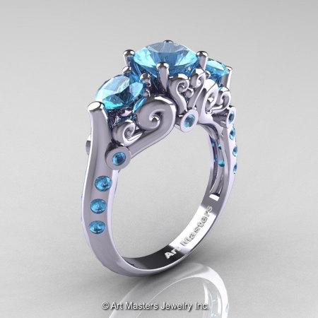 Art Masters 10K White Gold Three Stone Aquamarine Modern Antique Engagement Ring R515-14KWGAQ-1