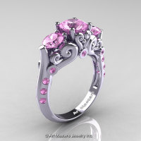 Art Masters 10K White Gold Three Stone Light Pink Sapphire Modern Antique Engagement Ring R515-14KWGLPS-1