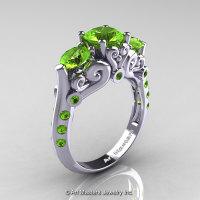 Art Masters 10K White Gold Three Stone Peridot Modern Antique Engagement Ring R515-14KWGP-1